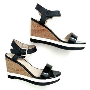 Liz Claiborne Color Block Faux Cork Wedge Sandals